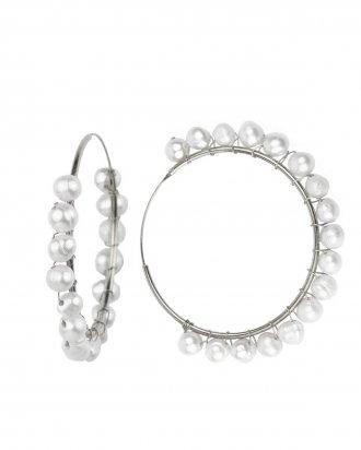 Pearl hoop silver