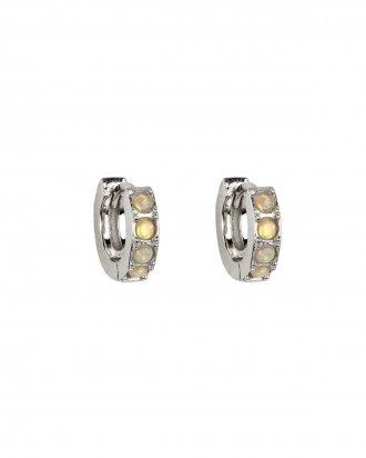 Opal huggies silver