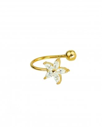 Flower ear cuff gold
