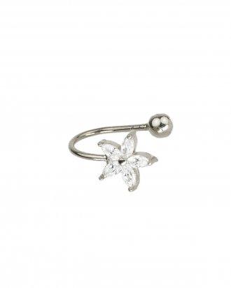Flower ear cuff silver