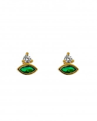 Gemstone Earrings Natural stone Ear studs Clear Stone 925 Silver Plated