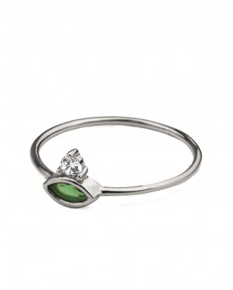 Emerald marquise silver